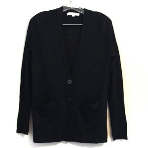 LOFT V-Neck Button Down Black Cardigan Medium
